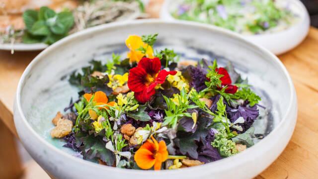 Salat med blomster