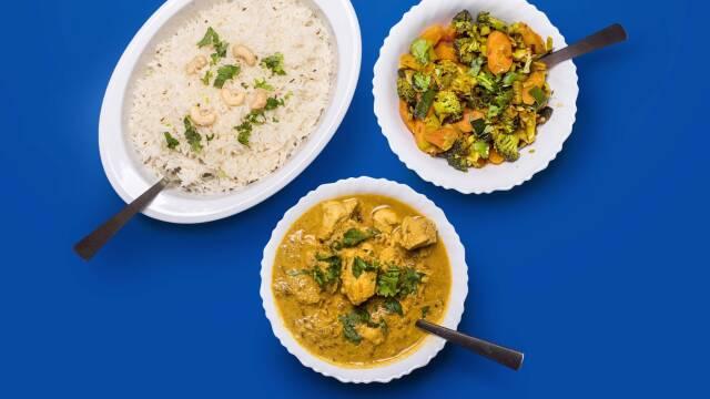 curry med ris og grønt