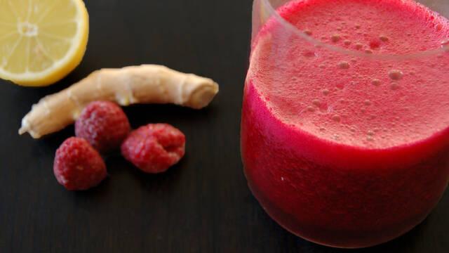 Billede af Rødbedejuice med ingefær og hindbær