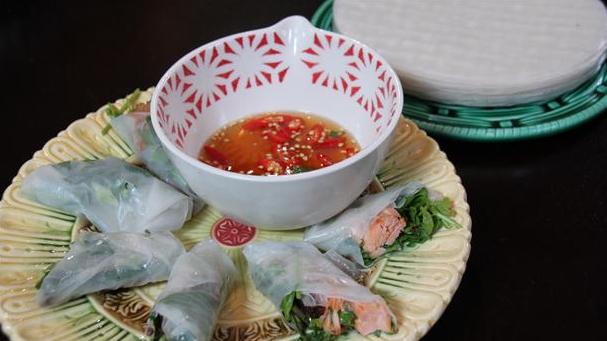 Billede af vietnamesiske ruller eller rispandekager med fyld