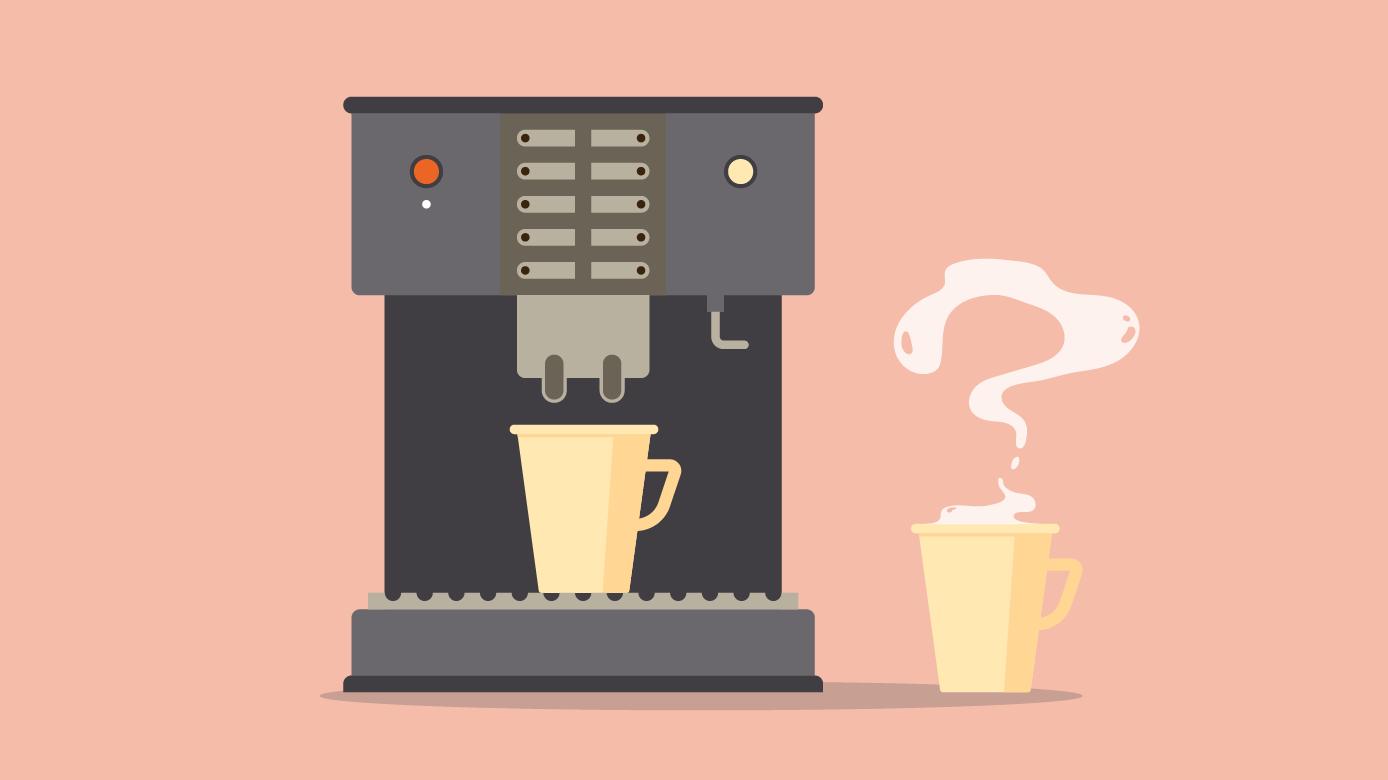 En kaffeautomat med to kaffekopper