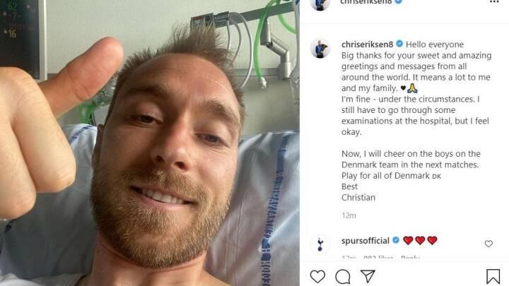 Eriksen smiler fra sygesengen: 'Tak til hele verden, jeg har det fint efter omstændighederne'