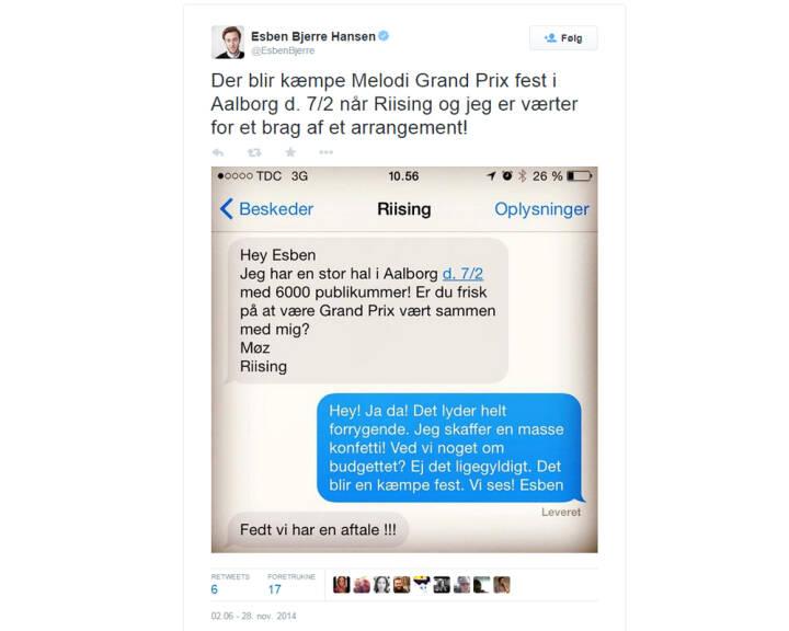 Her kan du se sms-korrespondancen mellem Bjerre og Riising.