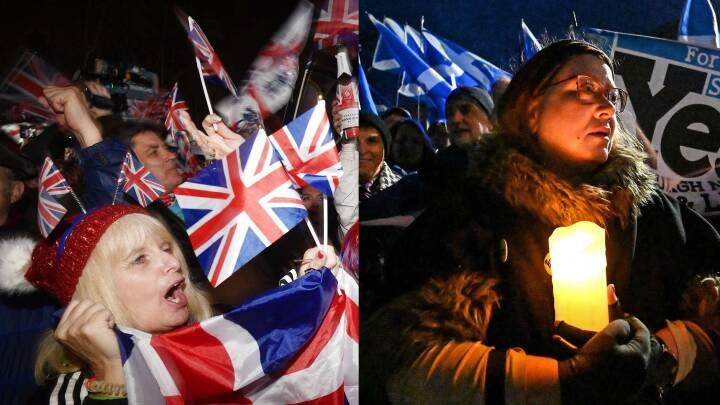 Jubel i London og sorg i Edinburgh: 'We're out!' og 'we'll be back!'
