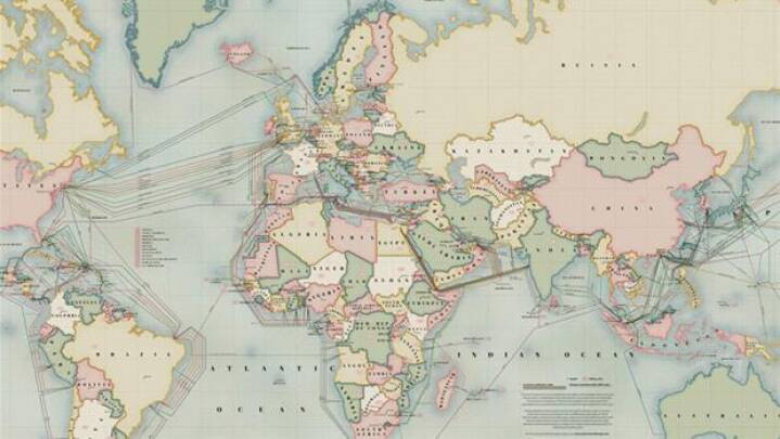 Nyt Kort Se Verden Bundet Sammen Af Kabler Udland Dr