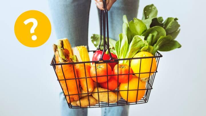 indkøbskurv med frugt og grønt