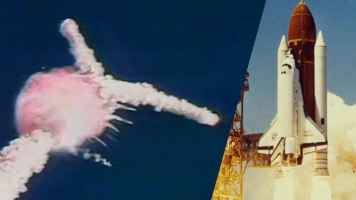 73 sekunder efter opsendelsen går det galt: Se rystende billeder af eksploderende rumfærge