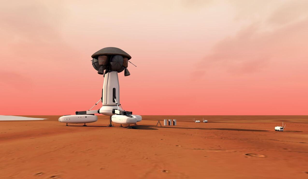 Mars-basen uden igloen, men med transportkapsel